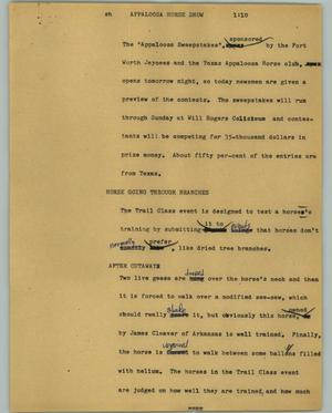 Primary view of object titled '[News Script: Appaloosa Horse Show]'.