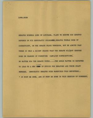 Primary view of object titled '[News Script: Long Dodd]'.