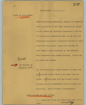 Primary view of object titled '[News Script: Republicans]'.