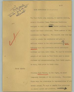 Primary view of object titled '[News Script: Race commission]'.