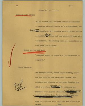 Primary view of object titled '[News Script: Dallas PD]'.