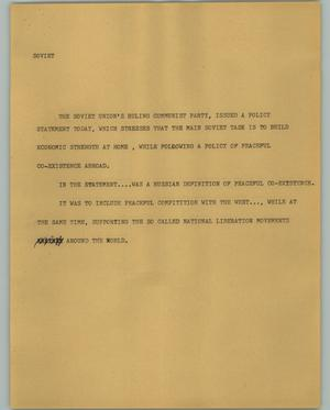 Primary view of object titled '[News Script: Soviet]'.