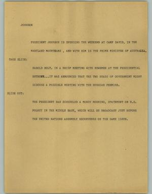 Primary view of object titled '[News Script: Johnson]'.