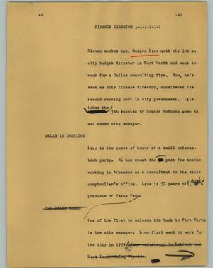 Primary view of object titled '[News Script: Finance Director]'.