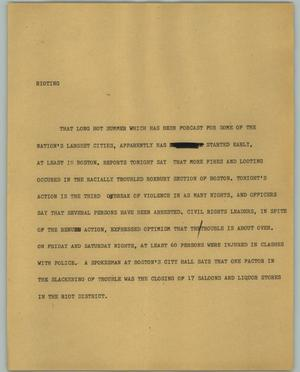 Primary view of object titled '[News Script: Rioting]'.