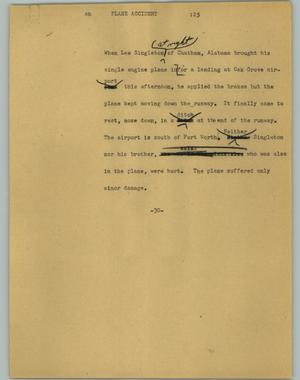 Primary view of object titled '[News Script: Plane Accident]'.