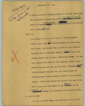 Primary view of object titled '[News Script: Bank shoot out]'.