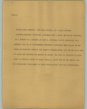 Primary view of object titled '[News Script: Manila]'.
