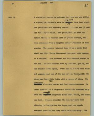 Primary view of object titled '[News Script: Abilene]'.