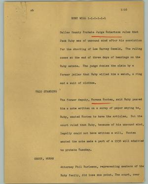 Primary view of object titled '[News Script: Ruby will]'.
