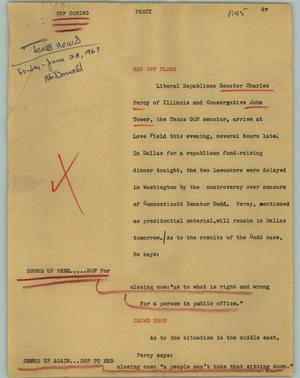 Primary view of object titled '[News Script: Percy]'.