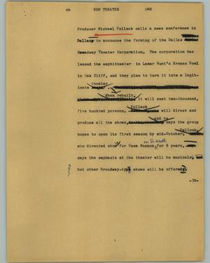 Primary view of object titled '[News Script: New theater]'.