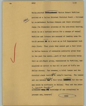 Primary view of object titled '[News Script: SNCC]'.