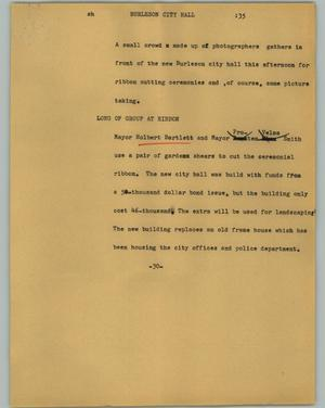 Primary view of object titled '[News Script: Burleson City Hall]'.