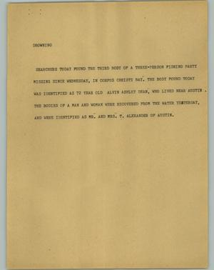Primary view of object titled '[News Script: Drowning]'.