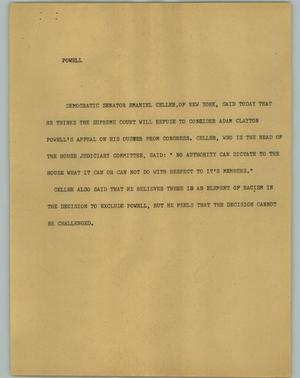 Primary view of object titled '[News Script: Powell]'.