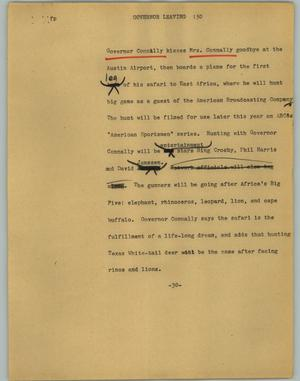 Primary view of object titled '[News Script: Governor leaving]'.