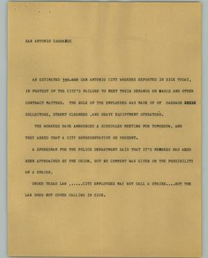 Primary view of object titled '[News Script: San Antonio Garbage]'.