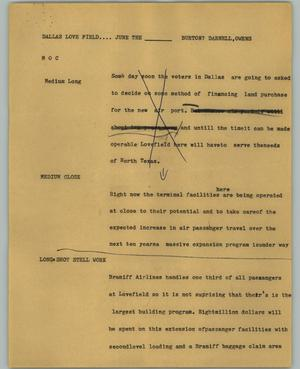 Primary view of object titled '[News Script: Dallas Love Field]'.