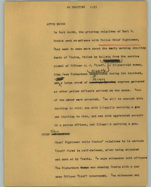 Primary view of object titled '[News Script: Fort Worth shooting]'.