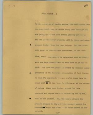 Primary view of object titled '[News Script: Food prices]'.
