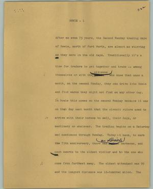 Primary view of object titled '[News Script: Bowie]'.