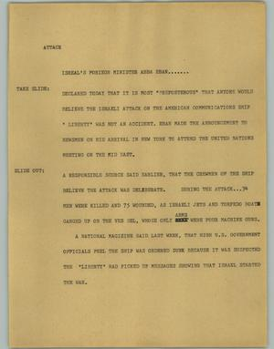 Primary view of object titled '[News Script: Attack]'.