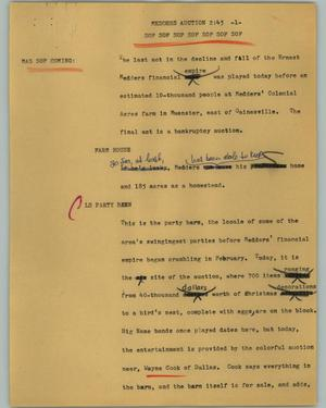 Primary view of object titled '[News Script: Medders auction]'.