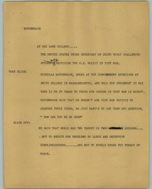 Primary view of object titled '[News Script: Katzenbach]'.