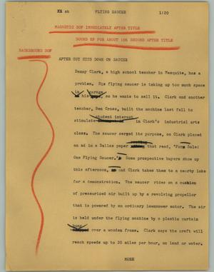 Primary view of object titled '[News Script: Flying saucer]'.