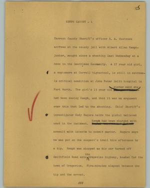 Primary view of object titled '[News Script: Kemph caught]'.