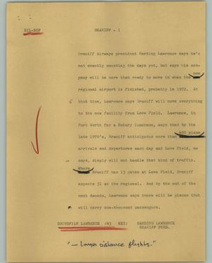 Primary view of object titled '[News Script: Braniff]'.