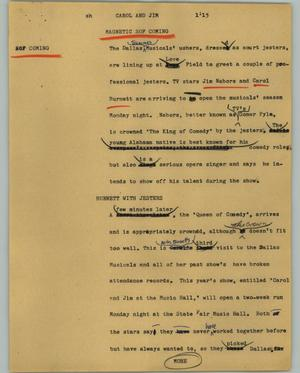Primary view of object titled '[News Script: Carol and Jim]'.