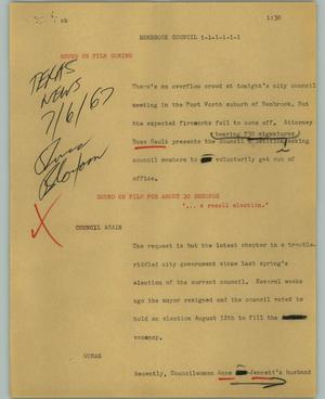Primary view of object titled '[News Script: Benbrook Council]'.