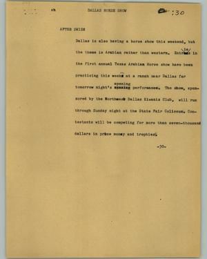 Primary view of object titled '[News Script: Dallas Horse Show]'.