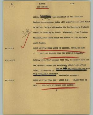 Primary view of object titled '[News Script: Banker]'.