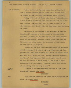 Primary view of object titled '[News Script: Lake Worth school election]'.