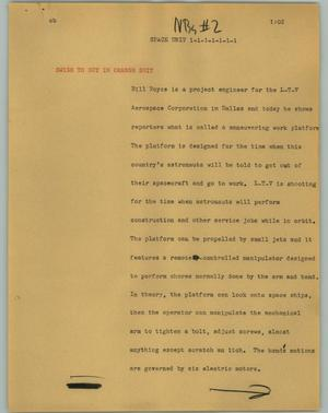 Primary view of object titled '[News Script: Space Unit]'.