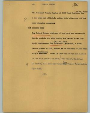 Primary view of object titled '[News Script: Tennis Center]'.