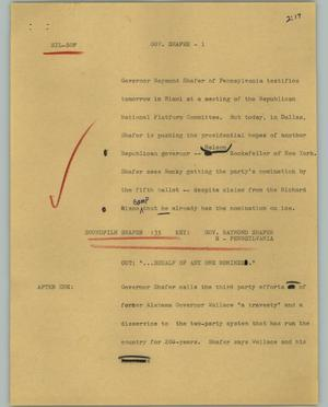 Primary view of object titled '[News Script: Gov. Shafer]'.