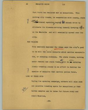 Primary view of object titled '[News Script: Mosquito drive]'.