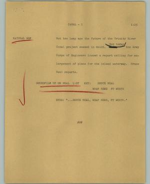 Primary view of object titled '[News Script: Canal]'.
