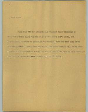 Primary view of object titled '[News Script: Boys State]'.