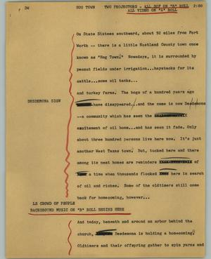 Primary view of object titled '[News Script: Hog Town]'.