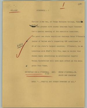 Primary view of object titled '[News Script: O' Donnell]'.