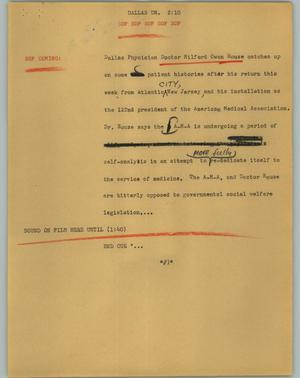 Primary view of object titled '[News Script: Dallas Doctor]'.