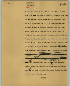 Primary view of object titled '[News Script: Ronnie baby]'.