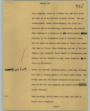 Primary view of object titled '[News Script: Trader Vic]'.