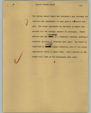 Primary view of object titled '[News Script: Dallas School Board]'.