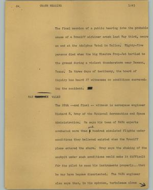 Primary view of object titled '[News Script: Crash hearing]'.